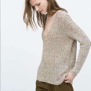 Zara Multicolor Navy V Neck Knit Sweater